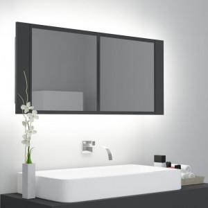 Dulap de baie cu oglindă și LED, gri, 100x12x45 cm