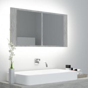 Dulap de baie cu oglindă și LED, gri beton, 90x12x45 cm