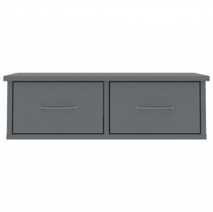 Dulap de perete cu sertare, gri lucios, 60x26x18,5 cm, PAL