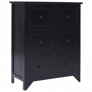 Dulap lateral cu 6 sertare, negru, 60x30x75 cm, lemn paulownia