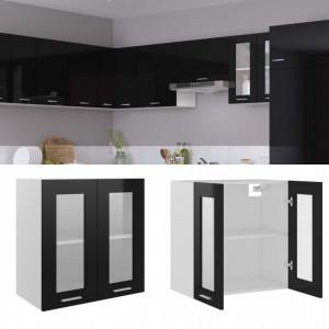 Dulap suspendat de sticlă, negru extralucios, 60x31x60 cm, PAL
