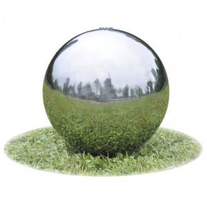 Fântână sferică de grădină cu LED-uri, 40 cm, oțel inoxidabil