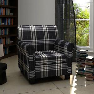 Fotoliu canapea cu pernă de scaun, material textil, negru