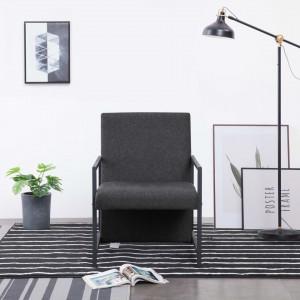 Fotoliu cu picioare cromate, gri închis, material textil