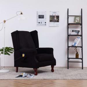 Fotoliu de masaj electric rabatabil, negru, textil