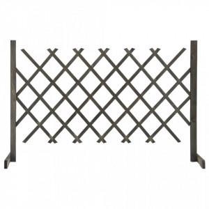 Gard cu zăbrele de grădină, gri, 120x90 cm, lemn masiv de brad