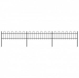 Gard de grădină cu vârf curbat, negru, 5,1 x 0,6 m, oțel