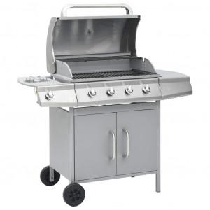 Grătar pe gaz, zonă de gătit 4+1, argintiu