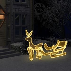 Instalație lumini Crăciun, ren și sanie cu plasă, 216 LED-uri