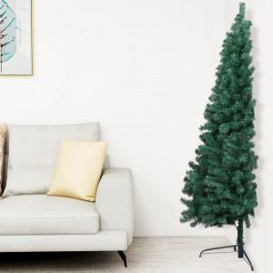 Jumătate pom Crăciun artificial cu suport, verde, 210 cm, PVC