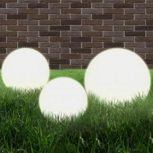 Lămpi bol cu LED 3 buc., sferice, 20/30/40 cm, PMMA