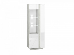Lumens 03 display vitrina deschidere stanga beton/white high gloss