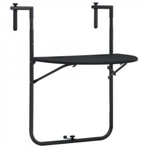 Masă balcon suspendată negru 60x64x83,5 cm plastic aspect ratan