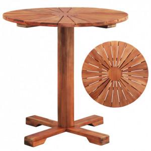 Masă cu piedestal, 70 x 70 cm, lemn masiv de salcâm, rotund