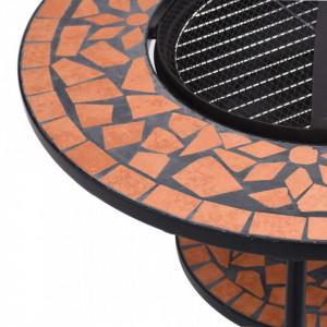 Masă cu vatră de foc, mozaic, cărămiziu, 68 cm, ceramică