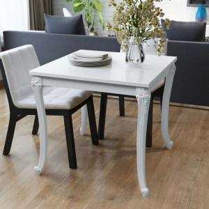 Masă de bucătărie lucioasă, 80 x 80 x 76 cm, alb