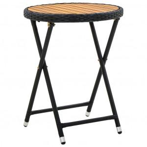 Masă de ceai, negru, 60 cm, poliratan și lemn masiv de acacia