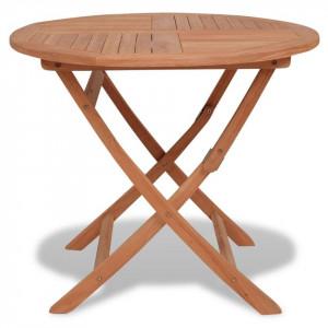 Masă de exterior pliabilă, 85 x 76 cm, lemn masiv tec, rotundă
