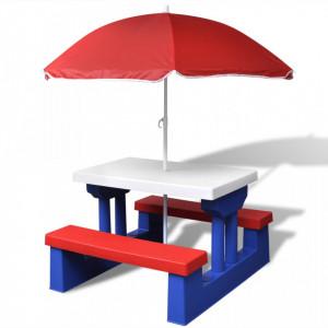 Masă de picnic pentru copii cu bănci & umbrelă, multicolor