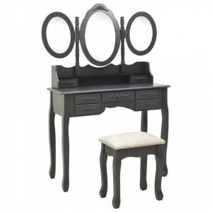 Masă de toaletă cu taburet și triptic oglinzi, gri