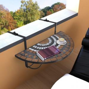 Masă suspendată pliabilă pentru balcon semi-circulară, Roșu-oranj-Alb