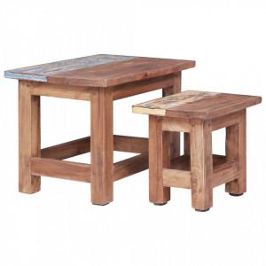 Mese suprapuse, 2 buc., lemn masiv reciclat