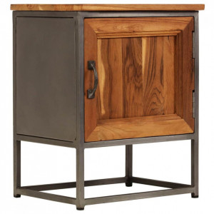Noptieră, 40 x 30 x 50 cm, lemn de tec reciclat și oțel