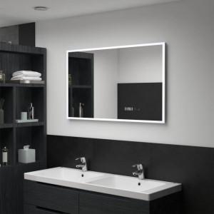Oglindă cu LED de baie cu senzor tactil și afișaj oră 100x60 cm