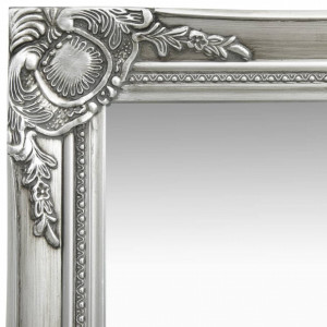 Oglindă de perete în stil baroc, argintiu, 50 x 50 cm