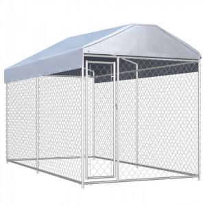 Padoc de exterior cu prelată pentru câini, 382x192x225 cm