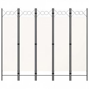 Paravan de cameră cu 5 panouri, alb, 200 x 180 cm