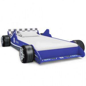 Pat pentru copii mașină de curse, albastru, 90 x 200 cm