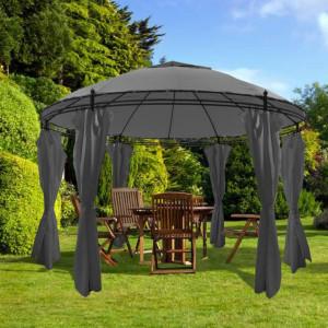 Pavilion cu perdele, antracit, 3,5 x 2,7 m, rotund