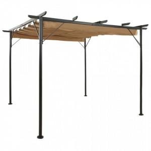 Pergolă cu acoperiș retractabil gri taupe 3x3 m, oțel, 180 g/m²