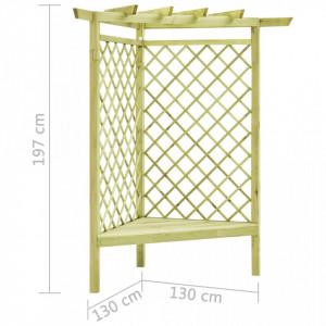Pergolă de colț cu banchetă, 130x130x197 cm, lemn de pin tratat