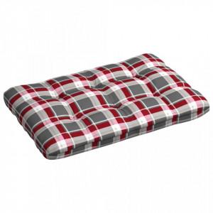 Pernă de paleți, roșu carouri, 120 x 80 x 12 cm material textil