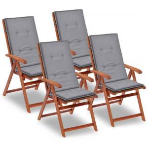 Perne scaun de grădină, 4 buc, gri, 120 x 50 x 3 cm