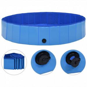 Piscină pentru câini pliabilă, albastru, 160 x 30 cm, PVC