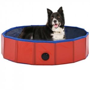Piscină pentru câini pliabilă, roșu, 80 x 20 cm, PVC