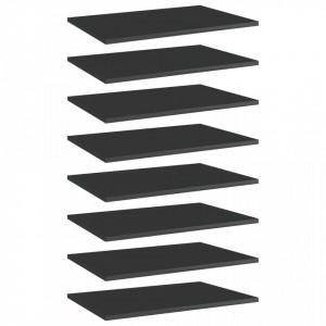 Plăci bibliotecă, 8 buc. negru extralucios 60 x 40 x 1,5 cm PAL