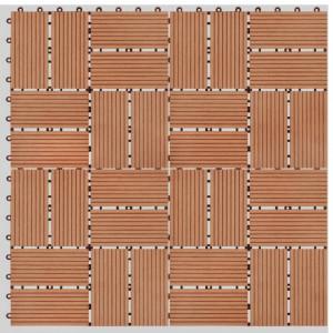 Plăci de pardoseală 11 buc, culoare tec, 30 x 30 cm, WPC, 1 mp