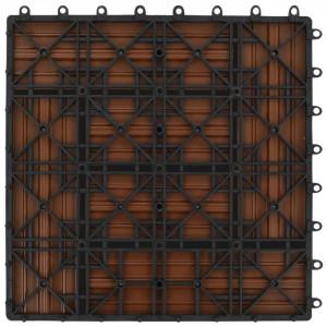 Plăci de pardoseală, 22 buc., maro, 30 x 30 cm, WPC, 2 mp