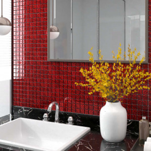Plăci mozaic autoadezive 11 buc. roșu 30x30 cm sticlă