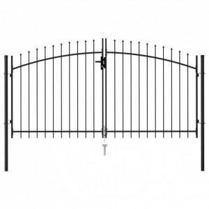 Poartă de gard cu ușă dublă & vârf ascuțit negru 3 x 1,5 m oțel