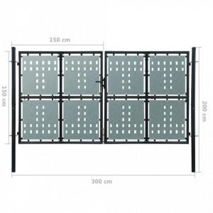 Poartă dublă neagră pentru gard 300 x 200 cm
