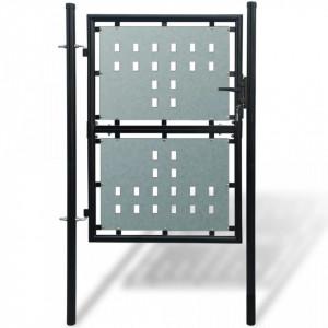 Poartă neagră pentru gard 100 x 200 cm