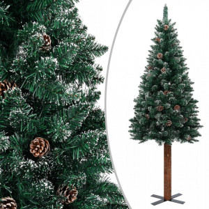 Pom Crăciun artificial subțire, lemn și zăpadă, verde, 150 cm
