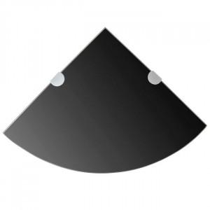 Raft de colț cu suporți de crom din sticlă negru 35 x 35 cm