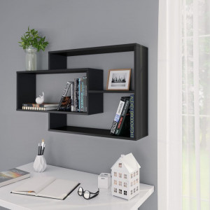 Rafturi de perete, negru, 104 x 20 x 60 cm, PAL
