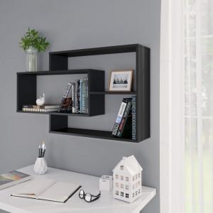 Rafturi de perete, negru, 104 x 24 x 60 cm, PAL